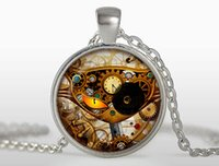 Wholesale Steampunk glass cat pendant clock necklaces personality charms Silver round glass dome pendant Jewelry FTC N324