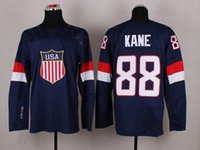 Cheap 2014 Sochi Olympic Team USA Hockey Jersey #88 Patrick Kane Blue Jerseys Hot Sale Hockey Wears Mens Sportswear with 1960 1980 On Sleeve
