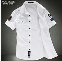Wholesale NEW Fashion airforce uniform military short sleeve shirts men s dress shirt Bcy60