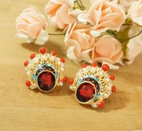 Women's beijing cans - Min order is can mix style Beijing opera mask quality glass gem glaze pearl cutout stud earrings