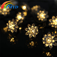 garden angels - Solar Garden String Lights for Outdoor M Led Fairy Light Lotus Bulb for Fence Lawn Landscape Decoration Pink