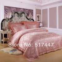 Wholesale Luxurious bedding set silk PC bedding covers for queen king luxury bed sheet sets home textile bedclothes