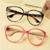 Wholesale Vintage big box eyeglasses frame plain mirror glass spectacles frame fashion plain mirror print glasses oculos de grau
