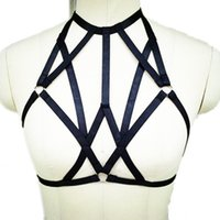 Wholesale 2016 New Pentagram Bra cage harness charm Women body crop top Spandex Open Cage bra harness body stocking witchy liga harness hand made