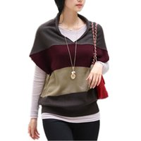 Cheap 2015 Spring Autumn Pullover Women's Loose Striped Batwing Sweaters Short Sleeve V-neck Knitwear Sweater Woman Clothing Jumpers