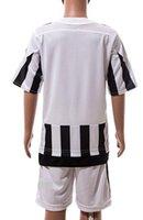 jerseys for kids - 2015 Juventus home Kids soccer jerseys youth football uniforms kit for children blank free customized white black