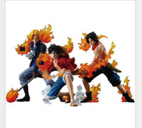 ace toys - 3pcs set One Piece Attack Styling Luffy Sabo Ace PVC Action Figures Collectible Model Toys