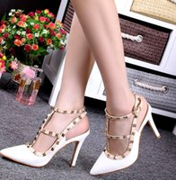 Wholesale Luxurious Elegant Women Cusp Shoes Rivet Street Wedding Dress Shoes Bridal Shoes High heeled Shoes Lady Sandals Shoes Height CM J4326