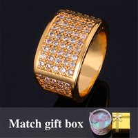 Wholesale Men s Jewelry Simple Rings K Real Yellow Gold Filled Top Quality Cubic Zircon Wedding Rings Fashion Jewelry For Men MGC R318