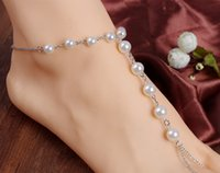 beaded toe rings - Hot sale Summer Fashion Women Pearl Beaded Anklet Ankle Bracelet Barefoot Sandal Chains Beach Foot Toe Ring