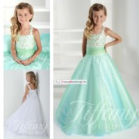 glitz pageant dresses - Mint vintage flower girl dresses spaghetti straps A line glitz girls pageant gowns party wedding girls dress beaded corset gowns