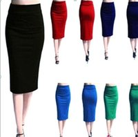 business clothing - 2015 Women s Elegant Fitted Mid Calf Pencil Skirt High Waist Cotton Blends Business Skirts Five Color Optional Women Clothing OXL072201