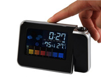 Wholesale Multi function Digital LCD Screen LED Alarm Clock Mini Desktop Projector Clock With Weather Station for bedroom