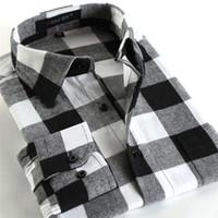 Wholesale New Fashion men shirts plaid causal shirt long sleeve flannel high quality mens clothes