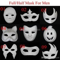 blank mask - New DIY Mask Hand Painted Halloween White Face Mask Zorro Crown Butterfly Blank Paper Mask Masquerade Cosplay Mask Draw Party Mask Props