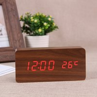 bell time clocks - Creative wood wooden bell alarm clock time temperature newest dual display voice mute LED bedside clock NZ