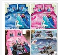 Cheap Frozen Bedding sets 3D Cartoon Bedding Sets Princess Elsa & Anna Olaf Frozen Duvet Quilt Cover Queen 4pcs Set Sister Love Cotton Bed Set