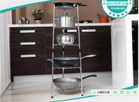 Wholesale Kitchen receive a pot rack Floor kitchen shelf The stainless steel pot Multilayer frame wok stand