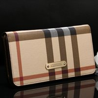 Wholesale Classic European and American Style Striped PU Leather Women Standard Long Wallets A2055