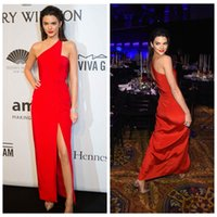 dresses new york - Red Sheath Column Prom Dresses By Kendall Jenner After New York Gala Hot Red One ShoulderSemi Formal Evening Gowns Red Carpet Dresses