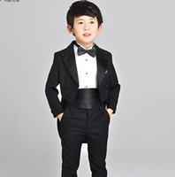 belt singing - Gentleman boy dovetail dress double breasted suit boy singing competition show suit formal occasion boys suits jacket pants bow tie belt