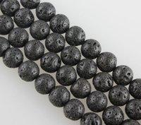 Wholesale Round Spong Black Lava Rock Beads Jewelry Making stone Strand