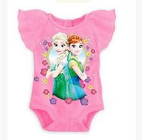Cheap 3 colors 2015 Baby romper babies clothes newborn clothing kids Frozen fever one-piece romper children fly sleeve kids jumper LJJC878 60pcs