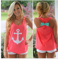 anchor ribbon embroidery - 2015 spring summer tops new fashion women tanks casual bow back vest tops navy anchor women tank tops