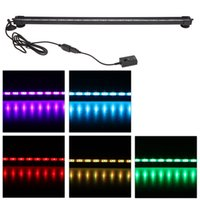 Wholesale 55cm W LEDs Bubble Aquarium Light Degree RGB Colors IP68 Submersible Remote Control Fish Tank LED Light Bar
