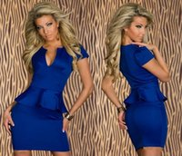 Reference Images Spaghetti Straps Tulle Cheap 2015 Blue Short Party Dresses Cap Sleeves Bodycon Peplum Skirt V Neck Sexy Mini Women Club Wear Dresses Cocktail Dresses BO8531