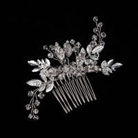 Wholesale New Style Bridal Wedding Accessories Hair Comb Crown Silver Rhinestone Leaf Party Prom Women Girls Hair Flowers With Comb Cheap