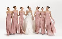 Reference Images A-Line One-Shoulder Pink Bridesmaid Dresses with Slit 2015 Bridesmaids Dresses Long Cheap Maid of Honor Dresses Ruffled Chiffon Dresses Party Evening Gowns