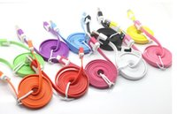 Wholesale Flat Micro USB Data Charging Cable V8 Color Noodles Flat Line Charging Line Sync Charger Line For Samsung Galaxy S5 S4 S3 S2 N7100 HTC note2