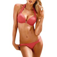 Wholesale S9Q Women s Bandages Push up Padded Bra Halters Bikini Set Bathing Suit Swimwear AAAETH