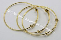 Wholesale 10pcs mm diameter gold plated simple wiring bracelet for beading or charms expandable bangles