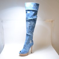 Wholesale Blue Knee High Cowboy Boots For Women Platform Peep Toe Thin High Heels Pocket Boots Ladies Leather Heel Sandals Summer