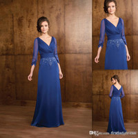 beautiful australia - Beautiful Blue Mother Of The Bride Dresses V neck Sleeves A line Chiffon Long Evening Weddings Party Gowns Australia Women Dress