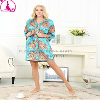 Wholesale Silk Kimonos Robes - Silk Wedding Robes Silk Robes For Bridesmaids Short Floral Robe Kimono Robe Women Bathrobe Dressing Gowns For Women Sleepwear New Fashion
