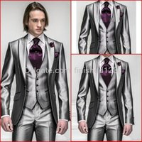 best mens ties - New Style Shiny Silver Grey Groom Tuxedos Peak Lapel Groomsmen Best Man Mens Wedding Suits Jacket Pants Vest Tie G541