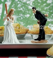 baseball figurine - Cheap wedding cake toppers decorations bride and bridegroom Figurine wedding cake topper baseball Couple Valentine s Day gift