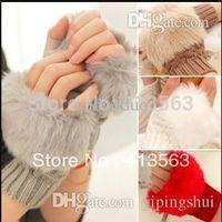 Wholesale Fashion Winter Arm Warmer Fingerless Gloves Knitted Fur Trim Gloves Mitten PIECES PAIR