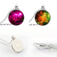 Wholesale Nebula turquoise space pendant astronomy geek jewelry sci fi science galaxy space necklace glass dome pendant Jewellery Gift