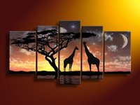 african poster art - Modern artistical home decor wall hanging living room abstract wall oil painting on canvas African prairie night sky art posters