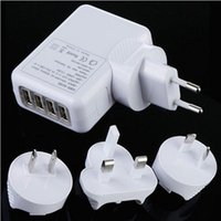 Wholesale Apple s four USB iPad2 iPhone4s Samsung HTC Sony Ericsson LED lamp multi port charger