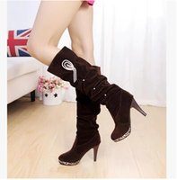 Wholesale 2014 winter high heeled women s boots high boots leopard bottom boots single boots waterproof boots fine with rhinestones