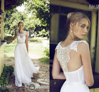 bridal gown sweep train - 2014 Bridal Dress A Line Scoop Chiffon Lace Garden Wedding Gown Appliques Pearls Beads Backless Sleeveless Sweep Train by Riki Dalal