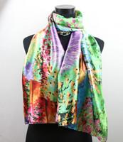 al por mayor floral del pavo real-Plumas 1pcs lavanda pavo real de las mujeres Pintura Satin Oil Moda largo mantón del abrigo de la playa de la bufanda de seda 160X50cm