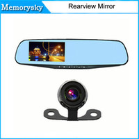 auto digital video recorder - Car Camera Dvr Blue Rearview Mirror Digital Video Recorder Auto Navigator Degree Wide Angle Car DVR Full HD P by DHL