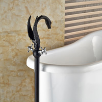 Wholesale And Retail Luxury Oil Rubbed Bronze Bathroom Tub Faucet Swan Spout Solid Brass Tub Filler Dual Cross Handles