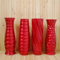 Wholesale Temperature ceramic red vase ground large bottles glazing surface flowers container brief water proof planter pose modern cm H